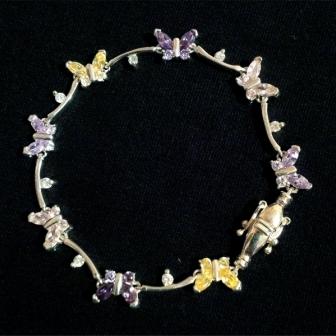 Bratara Argint Fluturi, Flori, Zirconii, Mov, Roz, Galben, Alb, Cadou