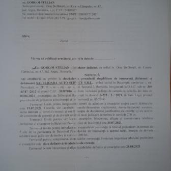 NOTIFICARE DESCHIDERE PROCEDURA DE INSOLVENTA - S.C. ILIOARA AUTO SERVICE S.R.L.