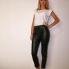 Pantaloni stretch din piele naturala